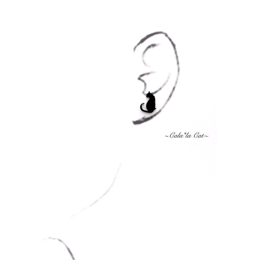 2wayシルエット黒猫の緑グリーンスワロドロップ ピアス/イヤリング ハンドメイド おしゃれ 猫 グッズ 雑貨 女性 日本製  母の日 ギフト プレゼント 誕生日 犬屋|inuya|04