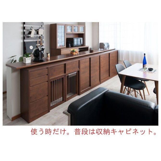 カウンター下 ペットケージ 幅90 木製 アルダー材 可動棚 ブラウン 完成品 日本製|ioo|05