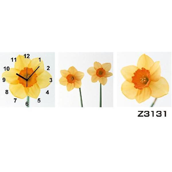 パネルクロック 3枚のアートパネル 壁掛け時計 hOur Design Z3131〈花〉