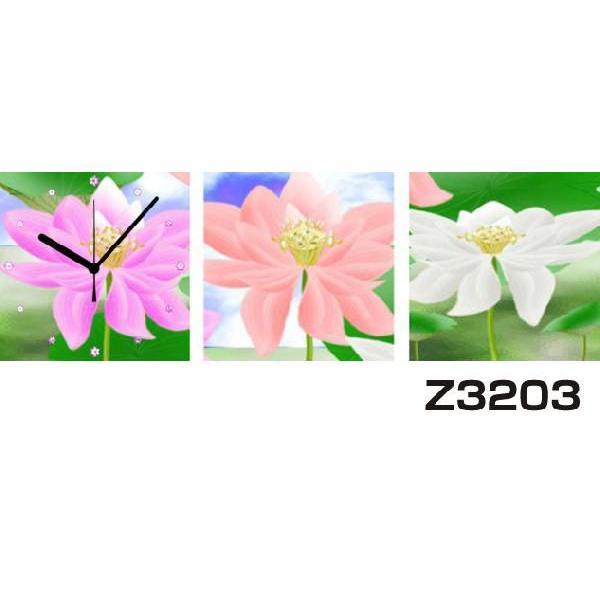 パネルクロック 3枚のアートパネル 壁掛け時計 hOur Design Z3203〈アート〉〈花〉