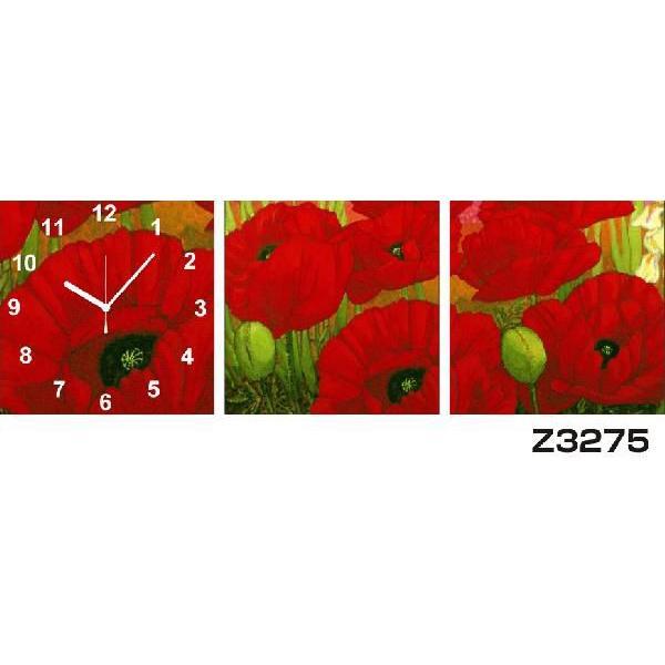 10/15限定プレミアム会員10%OFF★ パネルクロック 3枚のアートパネル 壁掛け時計 hOur Design Z3275〈アート〉〈花〉
