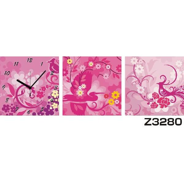 パネルクロック 3枚のアートパネルの壁掛け時計 hOur Design Z3280〈花〉
