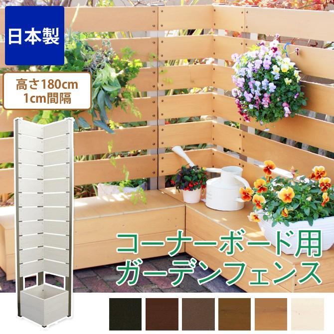 ガーデンフェンス 日本製 コーナーボックス用 ボックス付きフェンス 高さ180cm 1cm間隔 プランター付きフェンス