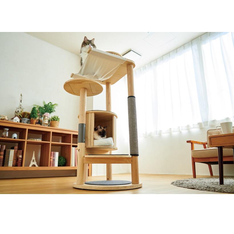 (OFT) キャットタワーHIDAMARI ( 猫 ねこ キャットタワー 爪とぎ ロフト ベッド ハウス 木製 ポール おしゃれ シンプル )|ip-plus|14