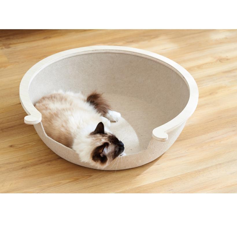 (OFT) フェルトキャットベッド L ( ペット ベッド ハウス おしゃれ 木 ウッド インテリア かわいい フェルト 猫 ネコ ねこ )|ip-plus|04