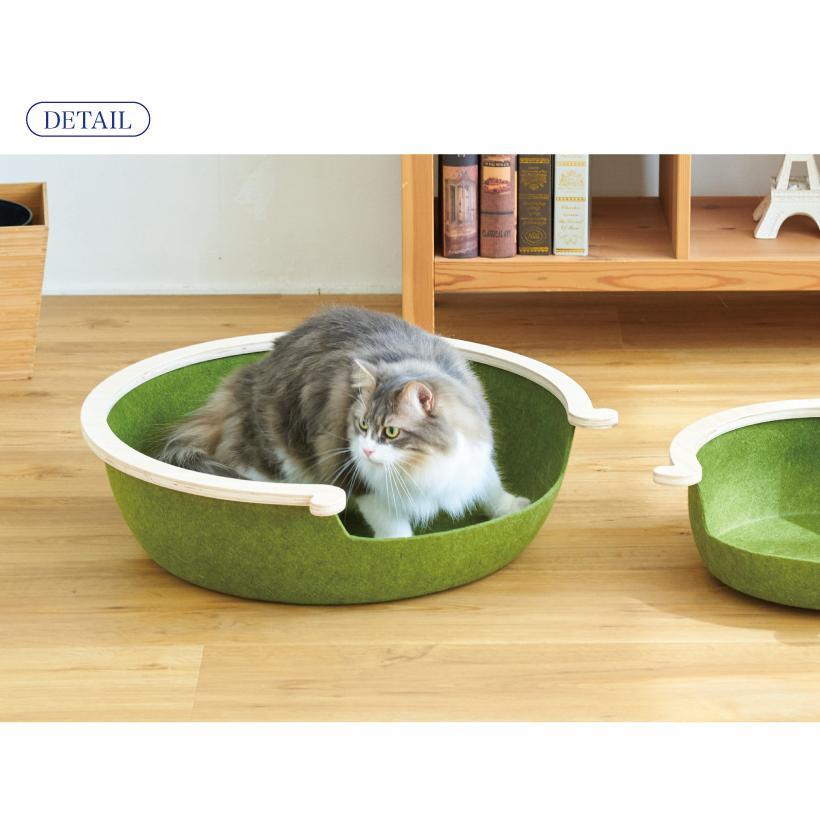 (OFT) フェルトキャットベッド L ( ペット ベッド ハウス おしゃれ 木 ウッド インテリア かわいい フェルト 猫 ネコ ねこ )|ip-plus|09