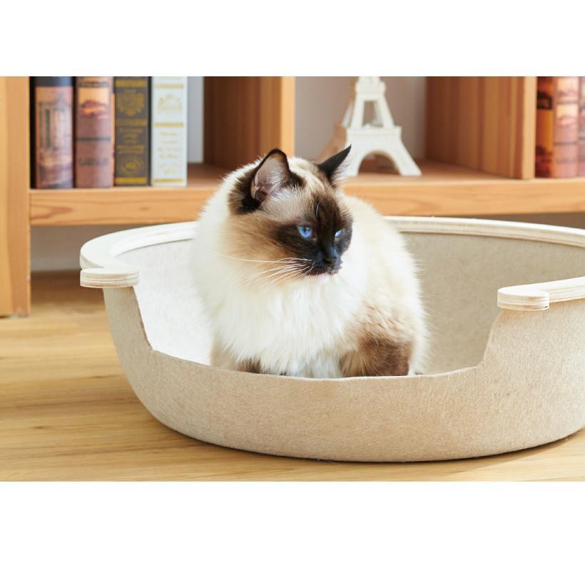 (OFT) フェルトキャットベッド L ( ペット ベッド ハウス おしゃれ 木 ウッド インテリア かわいい フェルト 猫 ネコ ねこ )|ip-plus|10