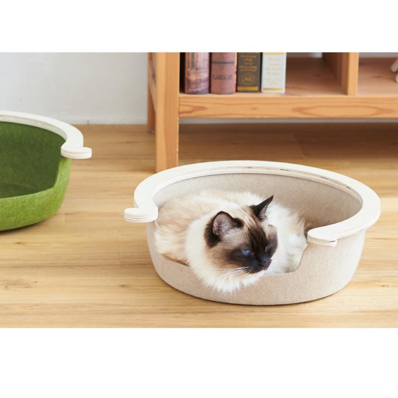 (OFT) フェルトキャットベッド S ( ペット ベッド ハウス おしゃれ 木 ウッド インテリア かわいい フェルト 猫 ネコ ねこ )|ip-plus|11