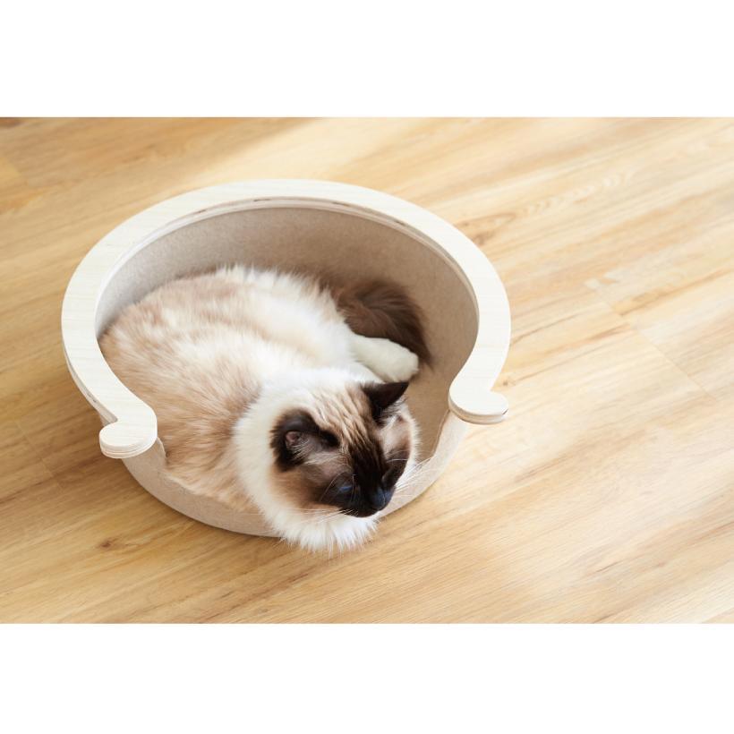 (OFT) フェルトキャットベッド S ( ペット ベッド ハウス おしゃれ 木 ウッド インテリア かわいい フェルト 猫 ネコ ねこ )|ip-plus|04