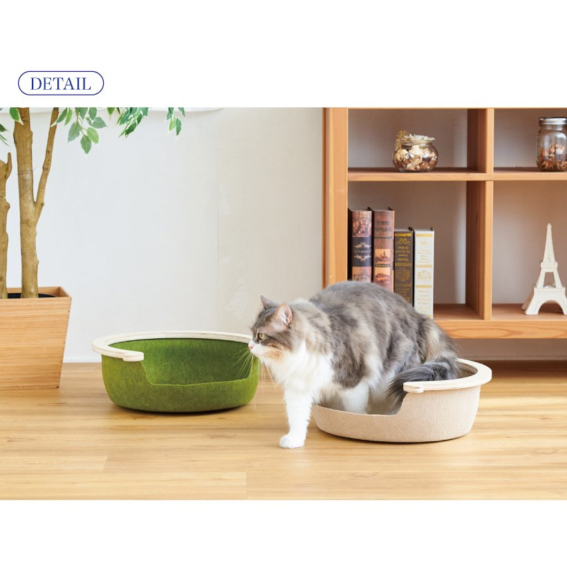 (OFT) フェルトキャットベッド S ( ペット ベッド ハウス おしゃれ 木 ウッド インテリア かわいい フェルト 猫 ネコ ねこ )|ip-plus|09