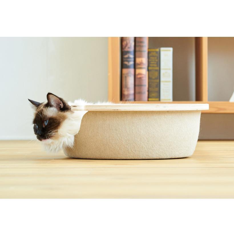 (OFT) フェルトキャットベッド S ( ペット ベッド ハウス おしゃれ 木 ウッド インテリア かわいい フェルト 猫 ネコ ねこ )|ip-plus|10