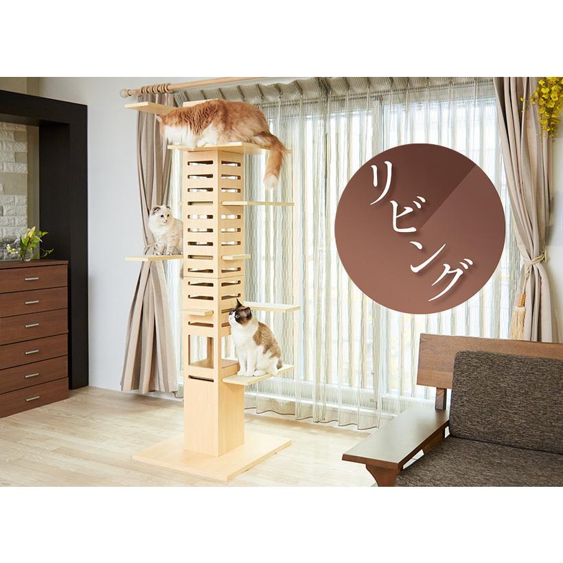 (OFT) 据え置き型キャットタワー necobacoT(ネコバコ T) 【送料無料(北海道・E沖縄・離島等除く)】 (猫 ねこ ネコタワー スリム シンプル 多頭 おしゃれ 木製)|ip-plus|10