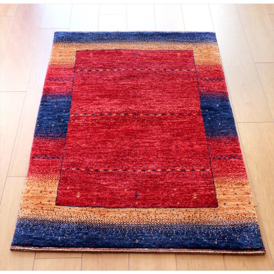 ギャッベ ギャベ ウール 玄関 カシュカイ族の手織りラグ最上級の織り・ロリアタシュ・アクセントラグサイズ115x78cm レッド、オレンジ、ネイビー