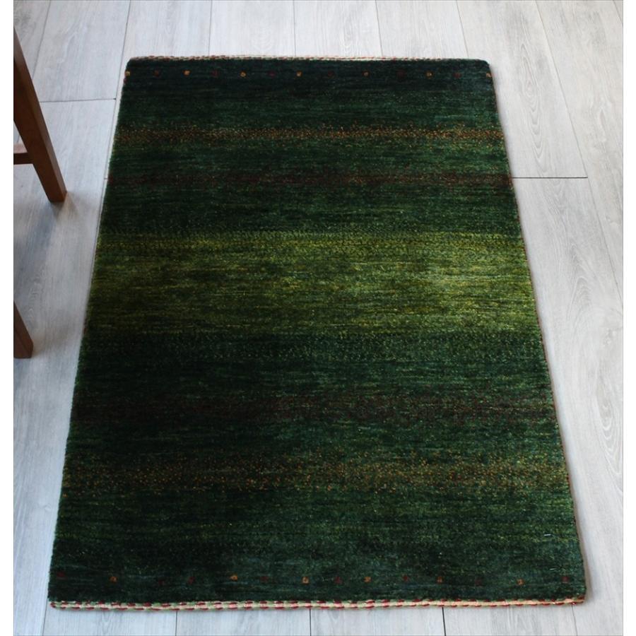 ギャッベ ギャベ ウール 玄関 カシュカイ族の手織りラグ最上級の織り・ロリアタシュ・アクセントラグサイズ113x76cm グリーングラデーション