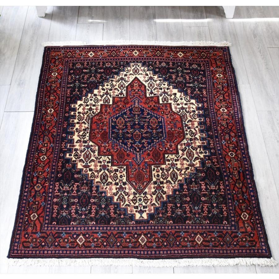 トライバルラグ・イランの絨毯/リビングサイズ・セッヂャーデ 154x120cmサナンダージ/六角形のメダリオン・アラベスク模様