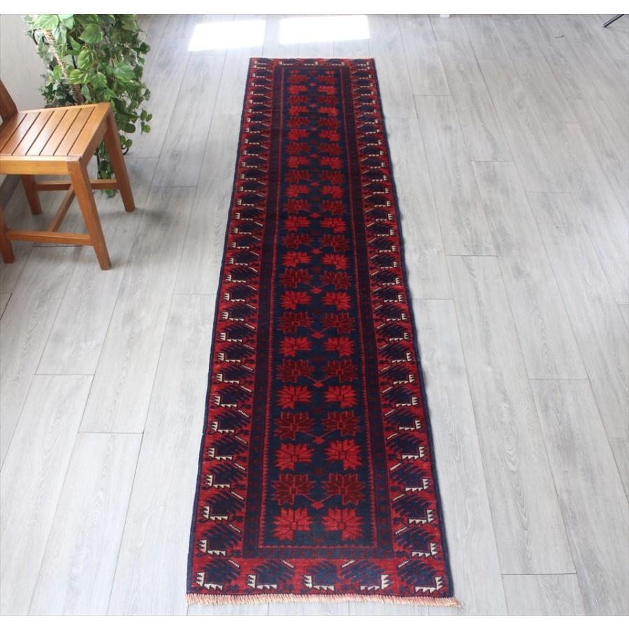ヤージベディル トルコ絨毯 手織りラグ ランナー 286x62cmレッド&ネイビー 幾何学モチーフ