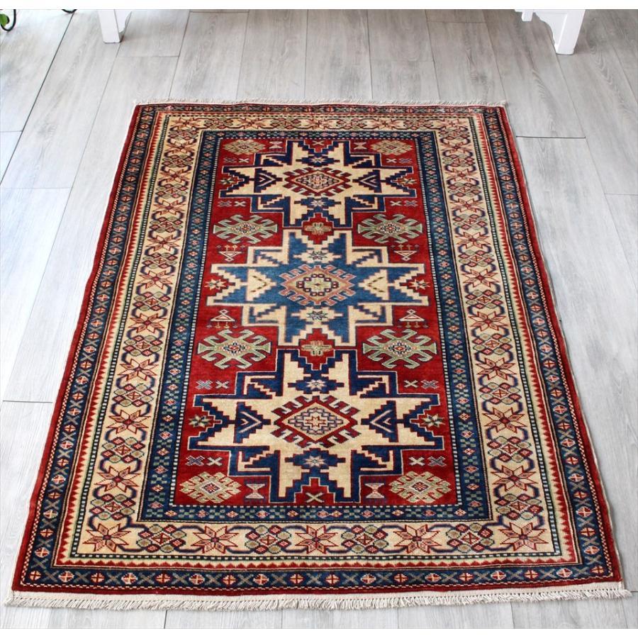 コーカサス・シルヴァンデザイン手織りカーペット 134x100cm幾何学モチーフのトルコじゅうたん/玄関マットサイズ