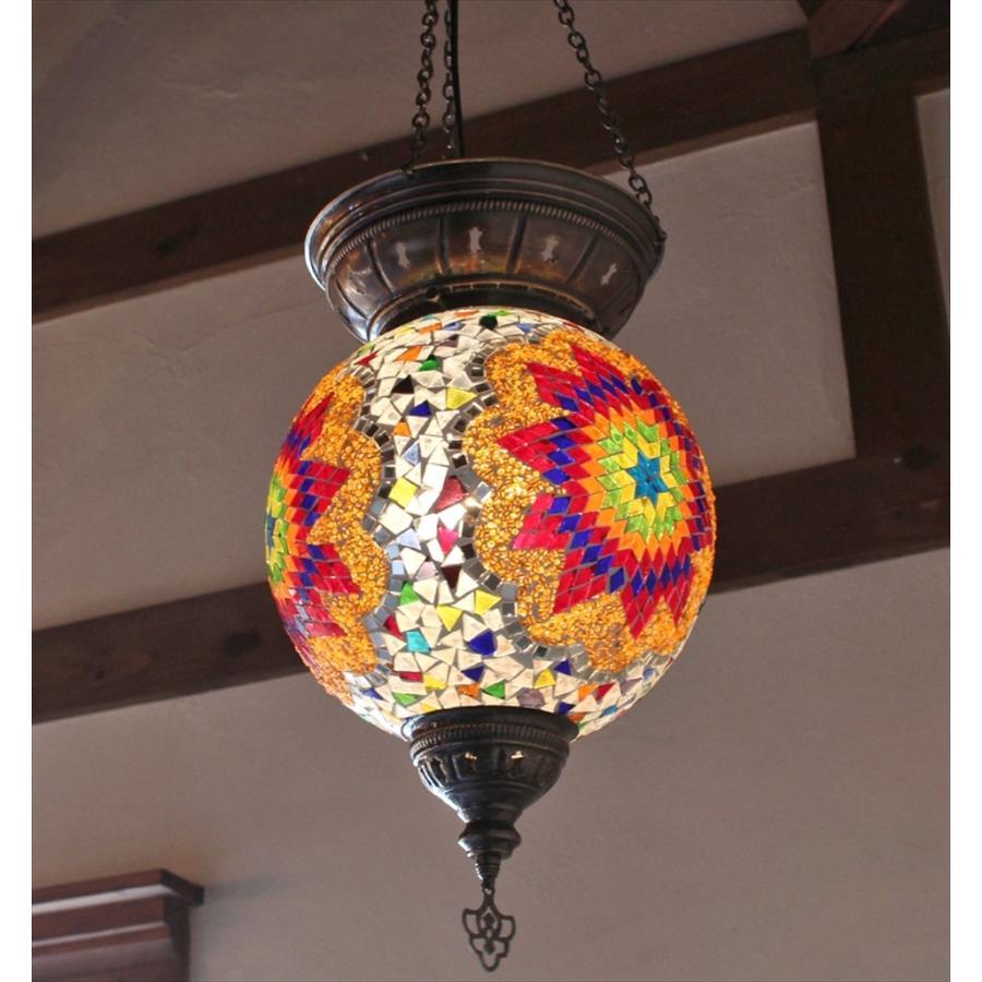 トルコランプ/モザイクガラスランプ・大型パレスランプ/ラウンド直径25cm/クリア&カラフルフラワー E17 25w 25w ミニクリプトン電球