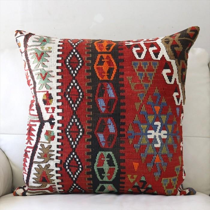オールドキリムクッションカバー 60cm角 ビッグピロー Old Turkish Kilim Cushion 60x59cm カイセリ