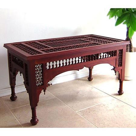 エジプト工芸家具ローテーブル・マシャラビア・エジプト製イスラミックな幾何学デザインのテーブル 送料無料