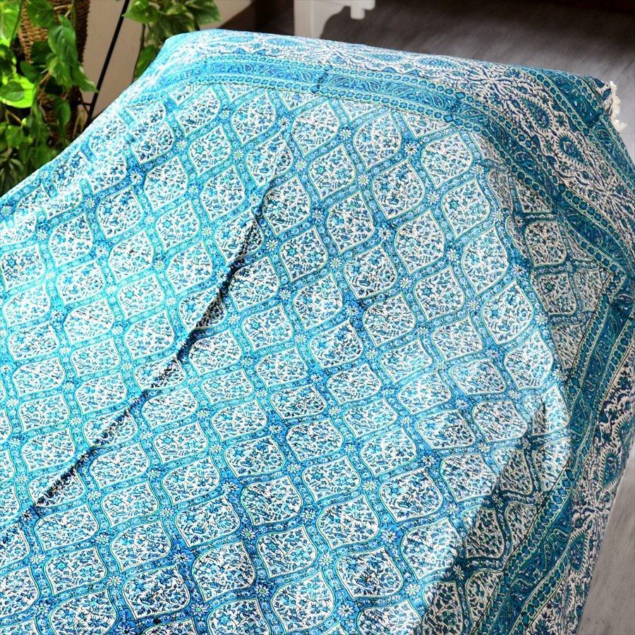 ペルシャ更紗・ガラムカール(イラン・手染布)240cmサイズ長方形アンティークデザイン 229x148cm ・グリーン/フラワー/ソファーカバー・ベッドカバー