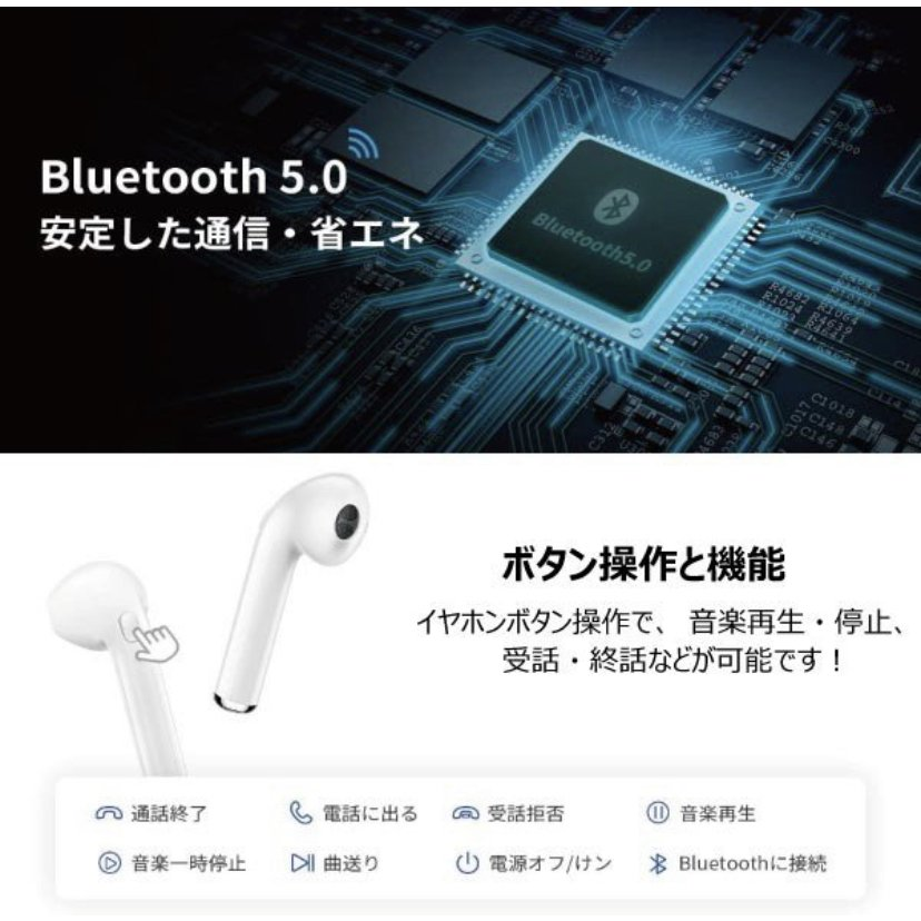 Bluetooth イヤフォン i7S バッテリー内蔵 充電ケース付き ワイヤレス イヤホン android Apple iPhone X 7 8 6S PLUS 2021年版 ワイヤレス ippachi 04