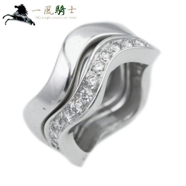 本物の CARTIER ネプチューン リング 2連 K18WG×ハーフダイヤモンド ♯45  (270788), 上宝村 8300e839