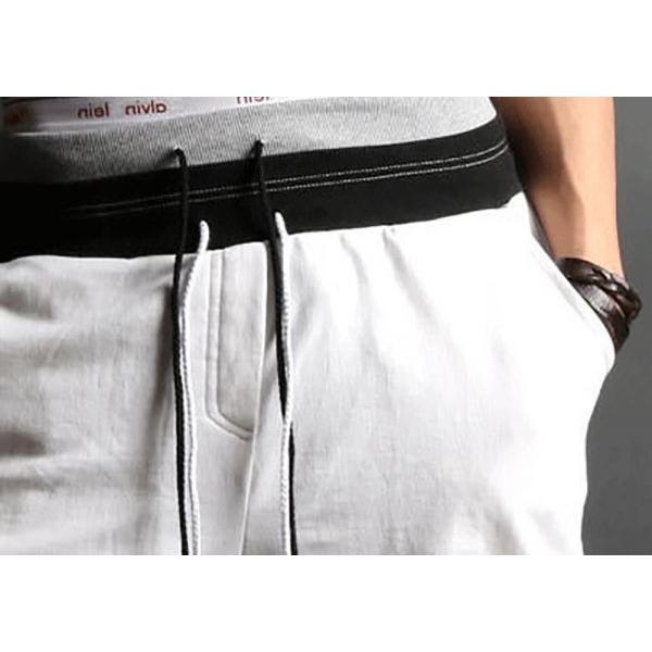 サルエルパンツ スポーツハーフパンツ メンズ スウェット 薄手 7分丈 メンズパンツ スウェットパンツ|irisblue|11