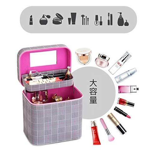 SZTulip コスメボックス メイクボックス 大容量メイクケース 化粧品収納ケース 小物入れ 鏡付き 化粧箱 (コーヒ?|iron-peace|05
