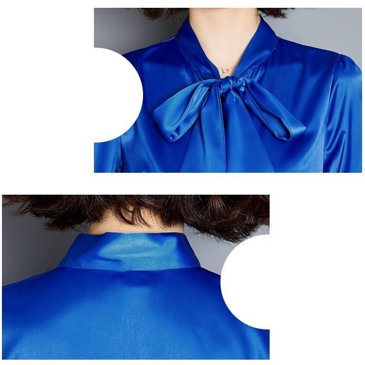 ブラウス トップス 無地 サテン シャツ 長袖 リボン付き レディース 春夏ファッション Yシャツ 通勤 OL フォーマル 着痩せ エレガント シンプル4色|isenn|10
