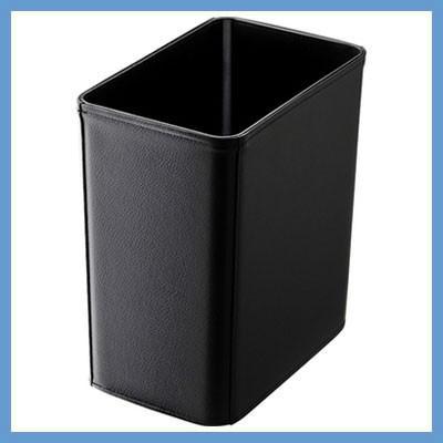 『小型』ブラックレザータッチくず入れ(角型小) ishana