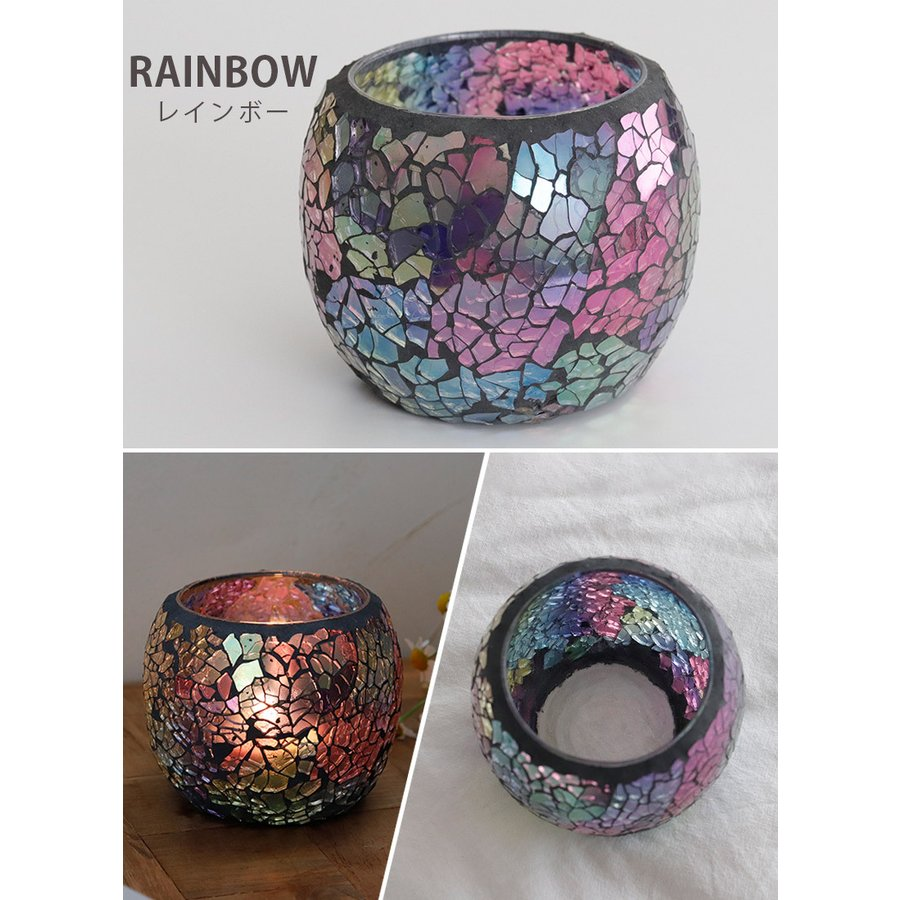 キャンドルホルダー ガラスホルダー キャンドルスタンド 北欧 トルコ 雑貨 癒し 硝子 ハロウィン モザイクガラス 6種類 ガラス容器|ishi0424|12