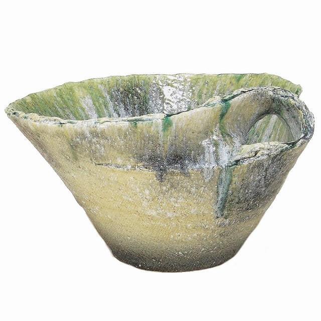 信楽焼 睡蓮鉢 緑白流しひねり水鉢 21号(直径64cm 高さ36cm) 【送料無料】【産地直送】