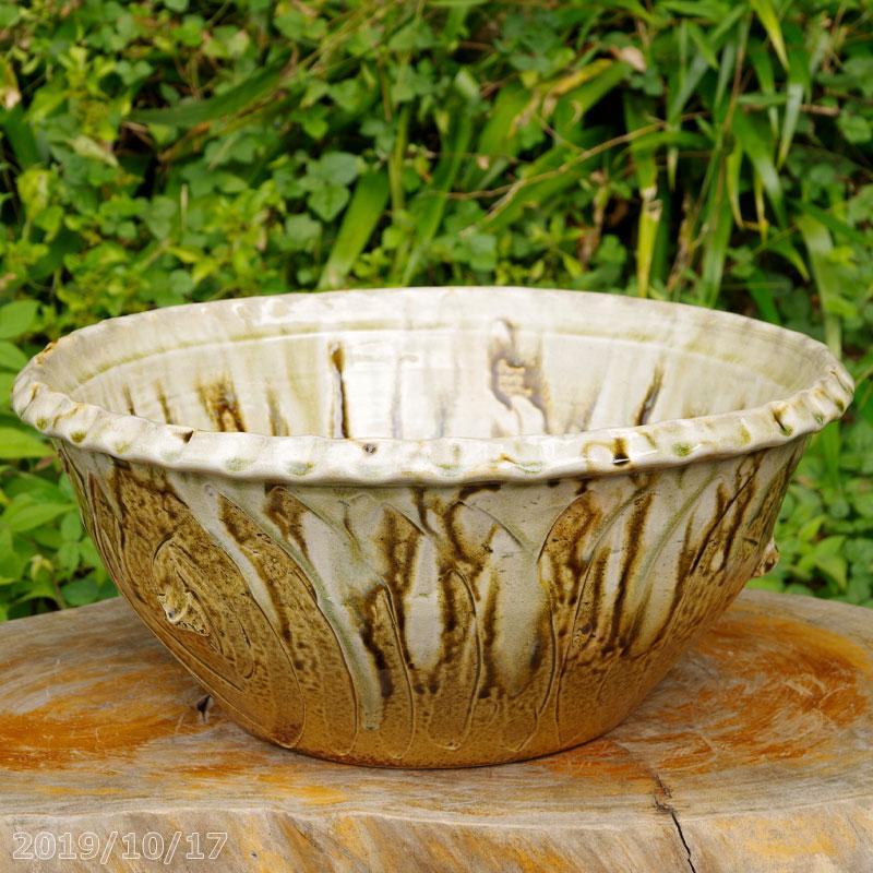 信楽焼 睡蓮鉢 イラボガラス水鉢 14号(直径42cm 高さ20cm) 【送料無料】【産地直送】