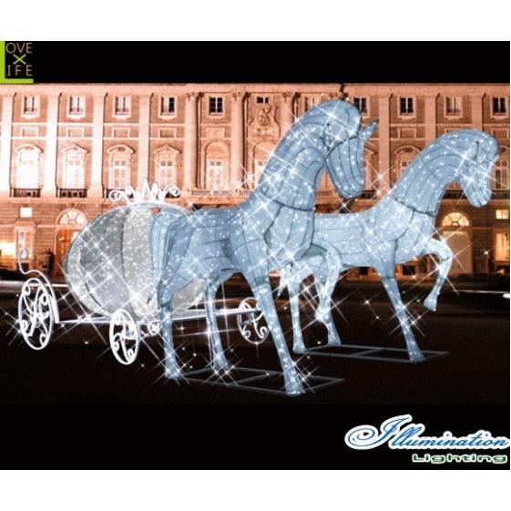 【大型用品】【イルミネーション】クラシック馬車【ホワイト】【馬車】【馬】【ホース】【うま】【3D】【クリスマス】【電飾】【装飾】【飾り】【パーティ】【