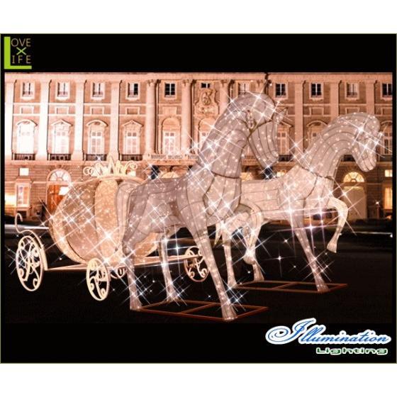 【大型用品】【イルミネーション】クラシック馬車【ゴールド】【馬車】【馬】【ホース】【うま】【3D】【クリスマス】【電飾】【装飾】【飾り】【パーティ】【