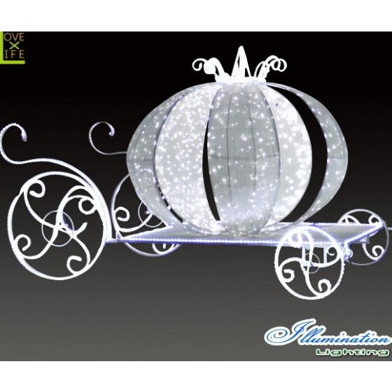【大型商品】【イルミネーション】クラシック馬車【ホワイト】【かぼちゃ】【パンプキン】【3D】【クリスマス】【イルミネーション】【電飾】【装飾】【飾り】