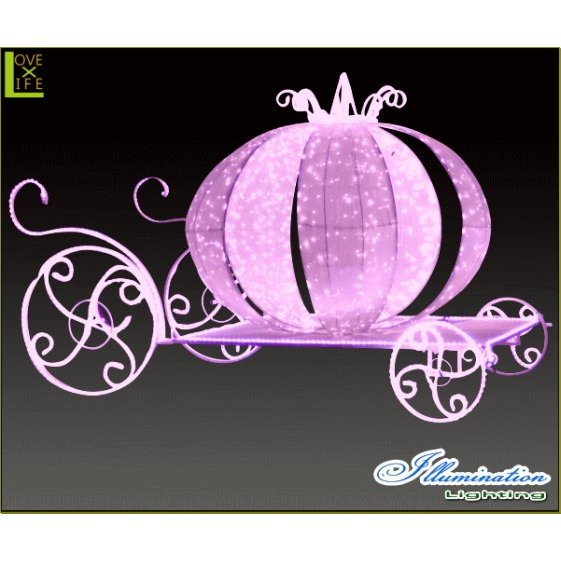 【大型商品】【イルミネーション】クラシック馬車【ピンク】【かぼちゃ】【パンプキン】【3D】【クリスマス】【イルミネーション】【電飾】【装飾】【飾り】【