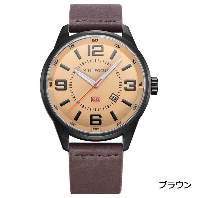 06ce69080c MINI FOCUS カジュアル 腕時計 メンズ 革 ベルト シンプル クオーツ ウォッチ (ブラウン) ishino7 ...