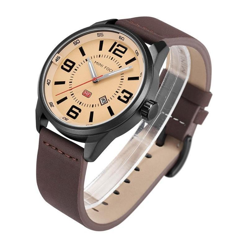 a731bce105 ... MINI FOCUS カジュアル 腕時計 メンズ 革 ベルト シンプル クオーツ ウォッチ (ブラウン) ishino7  ...