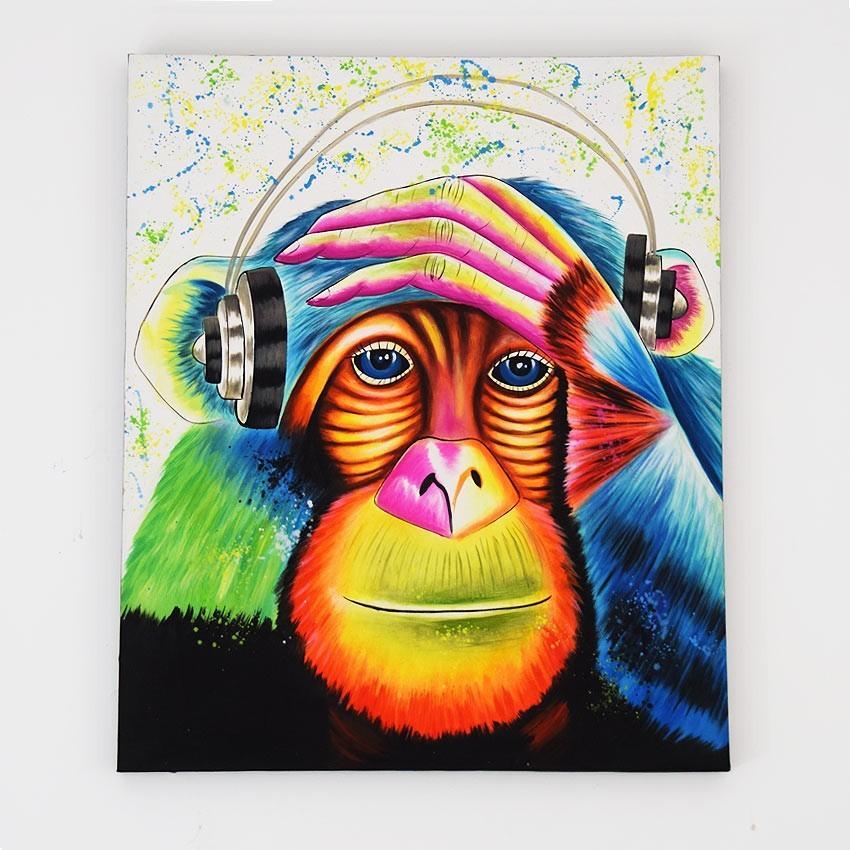 バリアート 絵画 壁掛け インテリア アートパネル アクリル画 モダンアート おしゃれ アジアン 雑貨 リゾート 新築祝い 抽象画 猿 サル/バリ絵画B136