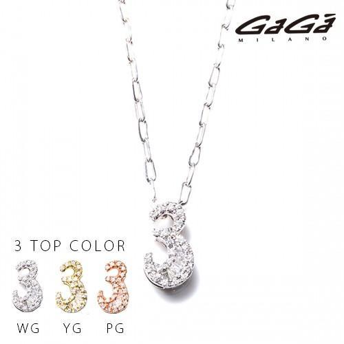 新品?正規品  国内正規品 GaGa MILANO/ガガミラノ Men's Ladies/メンズ レディース K10 NUMBER WHITE DIAMOND NECKLACE/ナンバーホワイトダイヤモンド ネックレス 番号