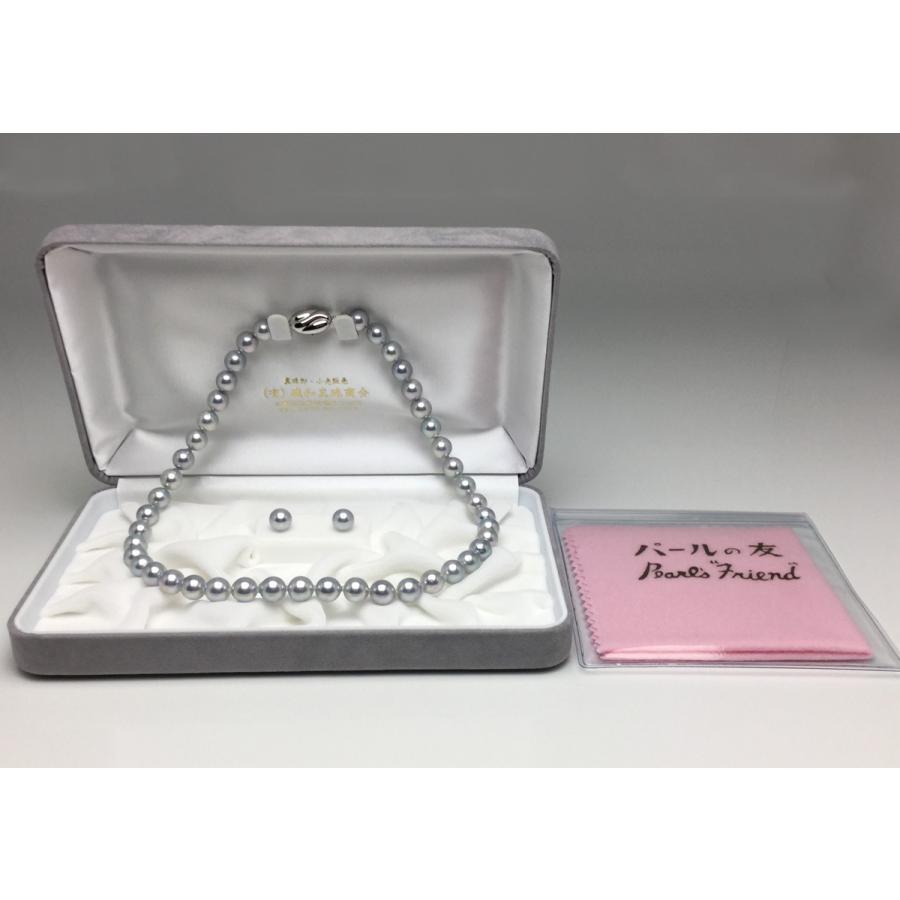 真珠 ネックレス アコヤ真珠 ブルーグレー パールネックレスセット 冠婚葬祭 8.0-8.5mm anes80b|isowa|03