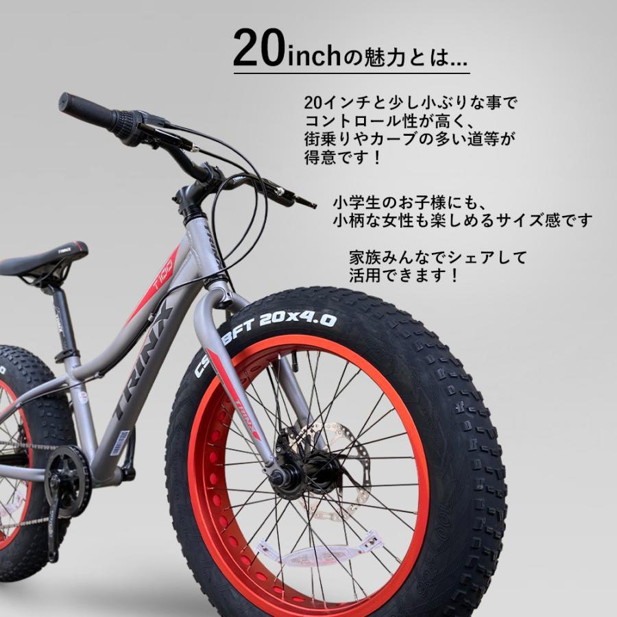 ファットバイク 20インチ 極太タイヤ 太いタイヤ シマノ マットブラック Wディスクブレーキ 自転車本体 街乗り 雪道 海岸 TRINX T100|isshoudou|07