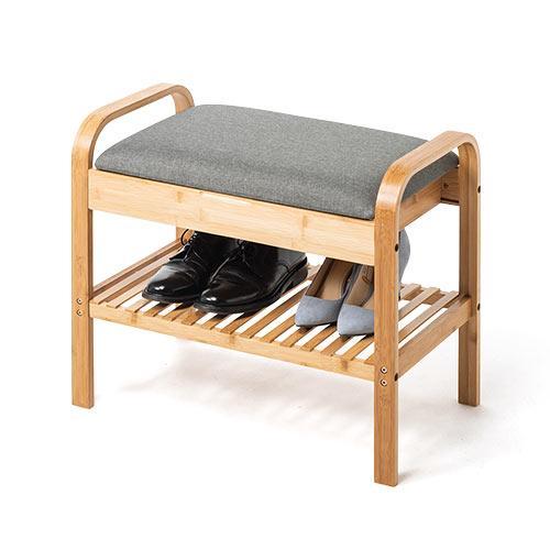 玄関椅子 手すり 収納 棚 クッション スツール 玄関ベンチ 竹製 グレー isu-oukoku