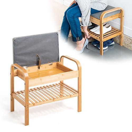 玄関椅子 手すり 収納 棚 クッション スツール 玄関ベンチ 竹製 グレー isu-oukoku 02
