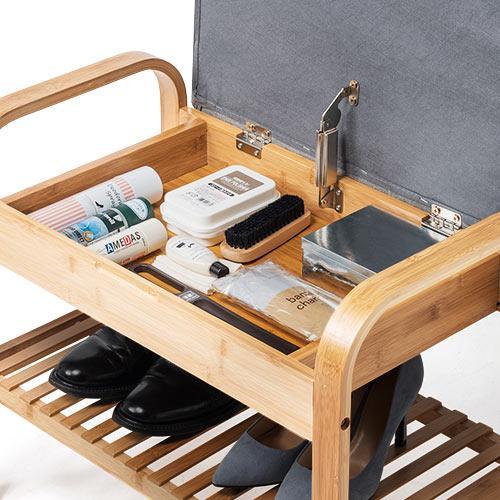 玄関椅子 手すり 収納 棚 クッション スツール 玄関ベンチ 竹製 グレー isu-oukoku 11