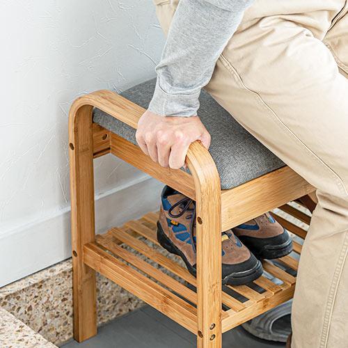 玄関椅子 手すり 収納 棚 クッション スツール 玄関ベンチ 竹製 グレー isu-oukoku 12