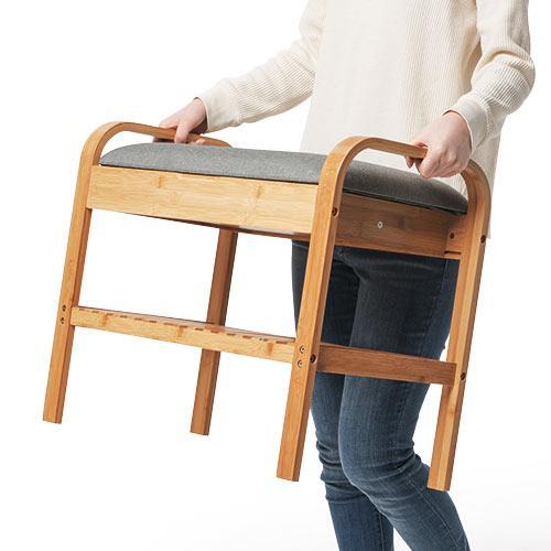 玄関椅子 手すり 収納 棚 クッション スツール 玄関ベンチ 竹製 グレー isu-oukoku 13