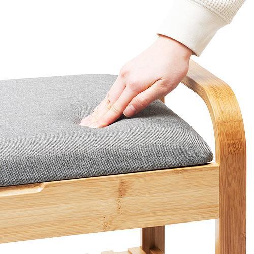 玄関椅子 手すり 収納 棚 クッション スツール 玄関ベンチ 竹製 グレー isu-oukoku 14